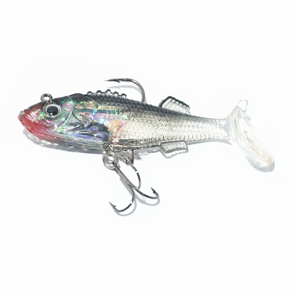 Lures 2pcs/lot Soft Plastic Vibe Fishing Lure 15g 80MM Jig Heads Flathead Bream Soft Artificial Bait Fishing Lure Mullet paddle tail