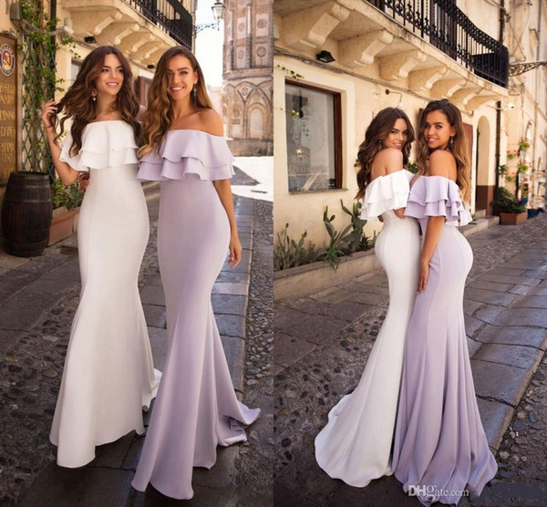 Cheap Lilac Off Shoulder Mermaid Bridesmaid Dresses Long Sheath Wedding  Guest Gown Plus Size Prom Evening Party Gown Maid Of Honor Wear Bridesmaid  ...