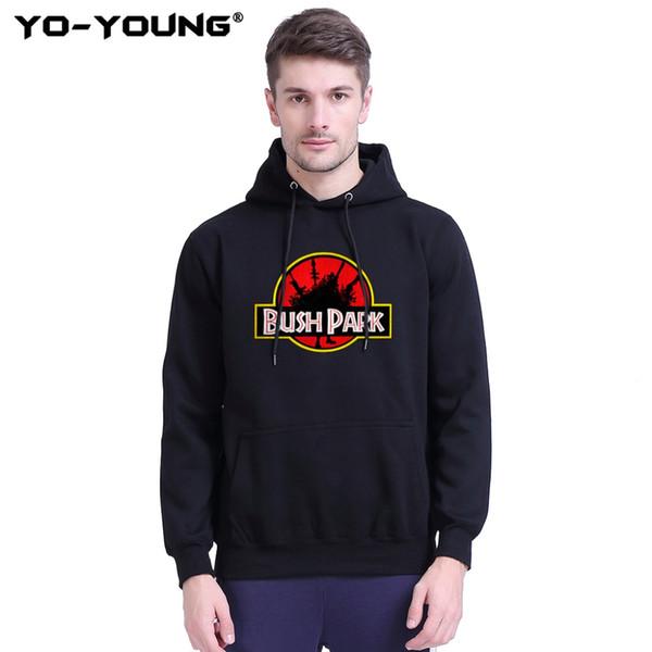 Yo-Young Men Hoodies Spring Autumn Sweatshirts BUSH PARK Printed Unisex Casual Game Fans Streetwear Fleece Inside