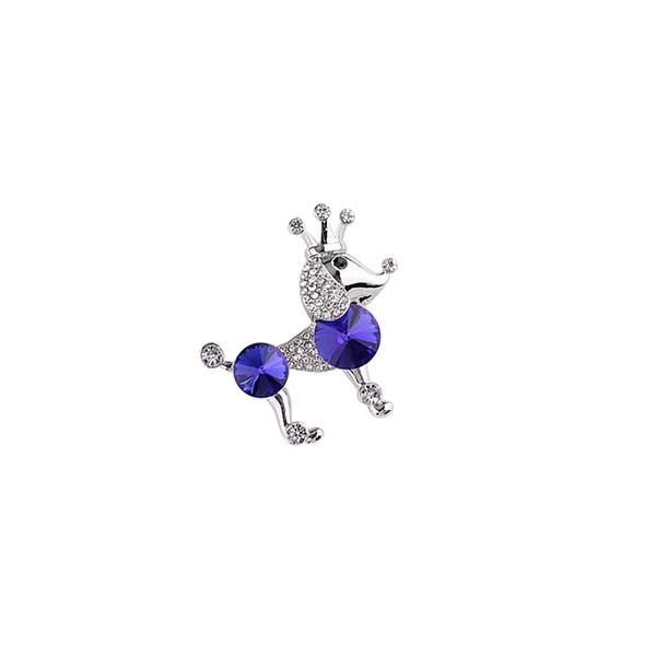 Мода Сладкой Корона синего пудель брошь для женщин и дети цинкового сплава Кристалла Pin животных фрак Аксессуары B