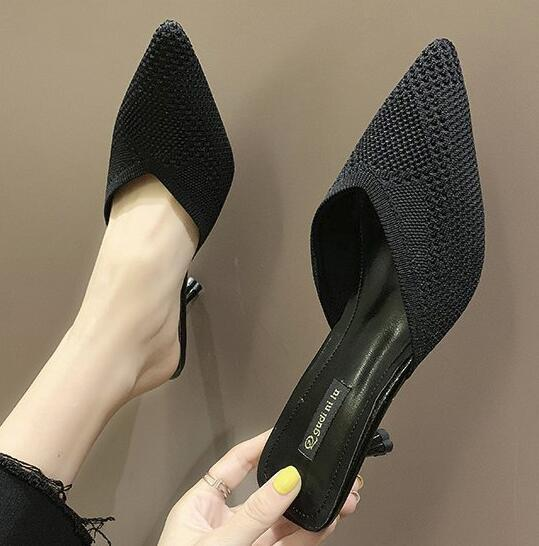 Explosion models fly woven stretch thin and thin half drag female pointed stiletto cat with Korean version wearing sandals and slippers Baot