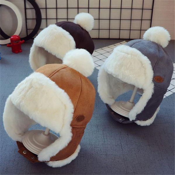 New Fluffy Hats Autumn Winter Infant Baby Knitted Trapper Hat Kids Fur Crochet Headband Cap Children Birthday Party Beanies Boy Girls Hats