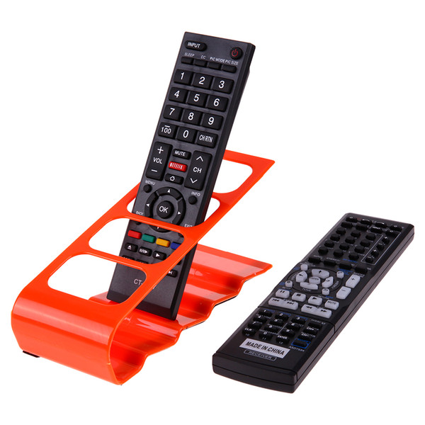 4 Cell Plastic TV DVD Remote Control Organizer Phone Holder Stand Acrylic Storage Rack for Home Office