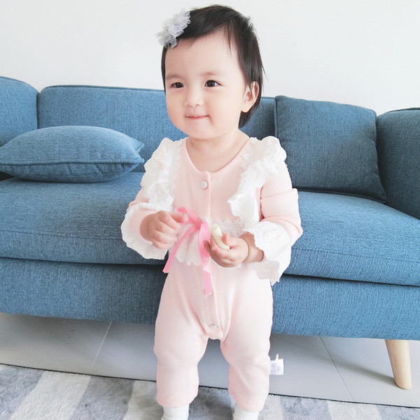 newborn girls rompers onesie casual yellow pink cute romper baby lace solid long sleeve clothes spring autumn children 6-36mths