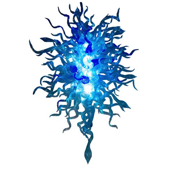 Fonte Led 100% Mão Soprado Dale Chihuly Vidro Murano Borosilicato Art Sonho Azul Colorido Lustre de Iluminação