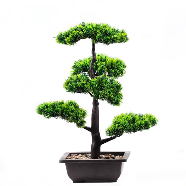 Artificial Fake Green Plant Bonsai Potted Simulation Pine Tree Home Office Decor
