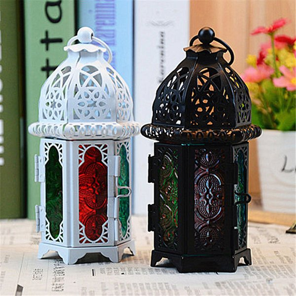 Classic Moroccan Decor Windproof Candle Holders Votive Iron Glass Hanging Candlestick Candle Lantern Party Home Wedding Decor