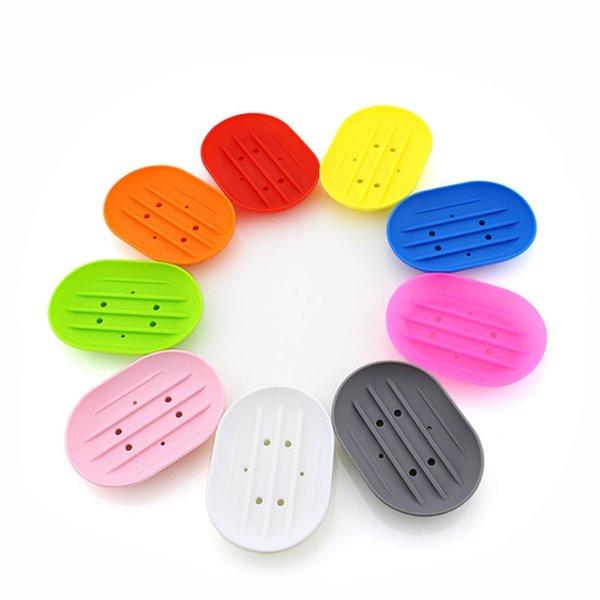 Non-slip Silicone Soap Dish Holder Hollow Drain Soap Box Bathroom Accessories Portable Soap Dishes