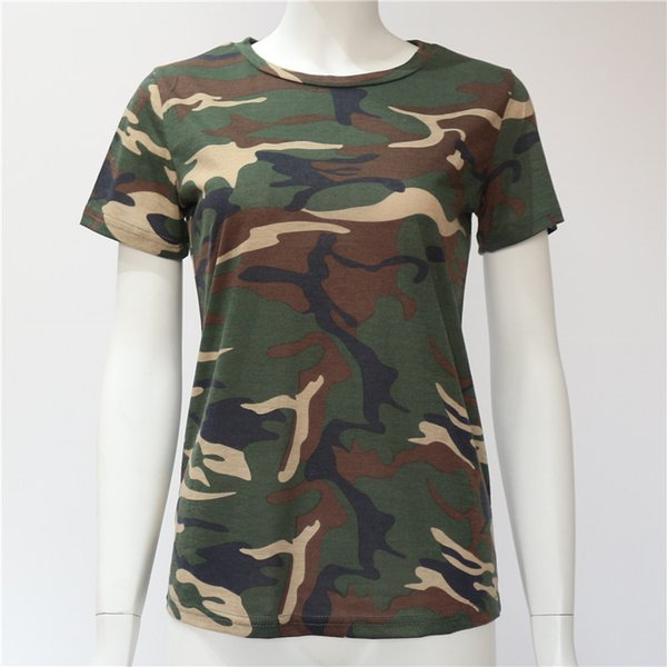 Vrouwen Camuflagem T-shirt Zomer Korte Mouw T-Shirt Meisjes Casual Tops Tees Fino O-hals Topos Vrouwelijke Katoenen Plus Size s-XXXL