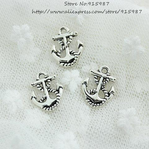 Sweet Bell Wholeslae 180pcs/lot 14*17mm Antique Silver Metal Alloy Nautical Anchor Charms Jewelry Nautical Charms D0604