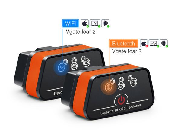 Original icar2 Bluetooth/Wifi OBD2 Diagnostic-tool ELM327 Bluetooth/wifi OBD 2 Scanner Mini ELM327 for android/PC/IOS Code Reader