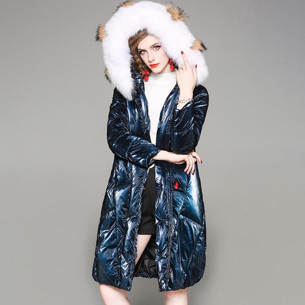 2019 yüksek dereceli beyaz ördek aşağı ceket kadın tilki kürk yaka sıcak kalın parkas coat moda Avrupa Amerikan uzun pamuk ceket