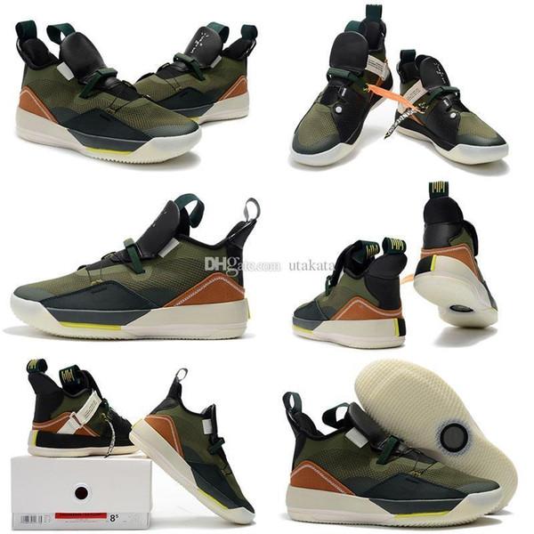 Pas cher 33 Qualité Jumpman XXXIII Haute Travis x Black ArmyGreen Olive Hommes Chaussures de Basketball 13s DMP Gris Toe Histoire De Vol Baskets Taille