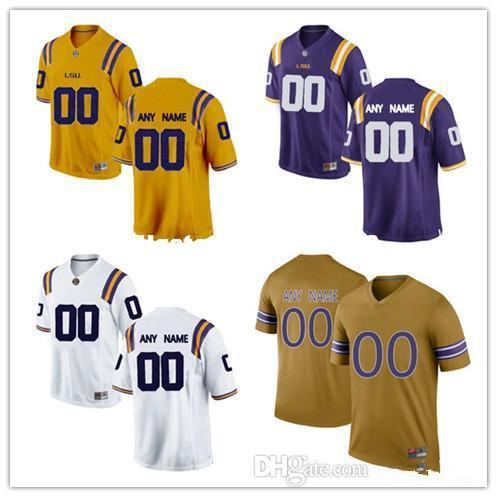 Custom Mens LSU Tigers College Football Limited white purple gold Personalized Stitched Any Name Number #2 #3 #7 #11 cheap Jerseys XS-5XL