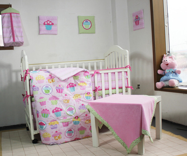 13Pcs Baby bedding set for infant girl Crib bedding set Pink Cot bedding set Sweet cake princess Quilt Bumper Mattress Cover Bed Skirt