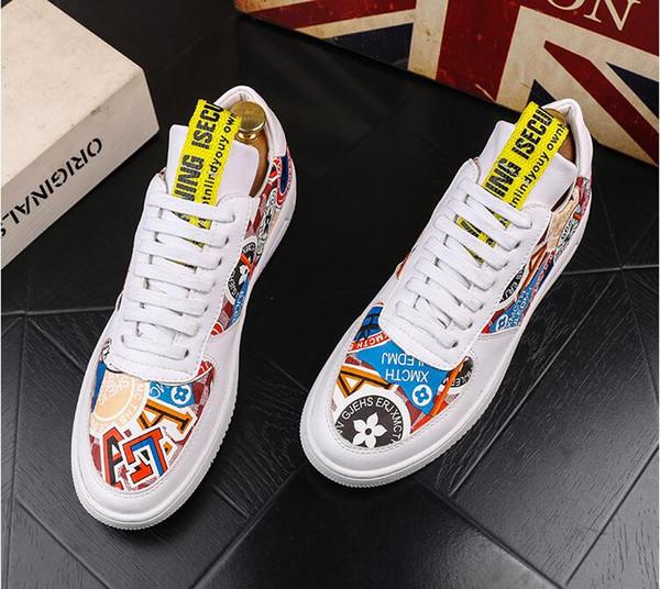 Мужская обувь 2019 лето новая волна ретро случайные студенты дикая обувь печатные белые туфли