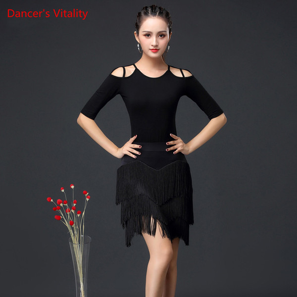 2019 New Fashion Women Dance Costumes Top+skirt Latin Salsa set Samba Suits Women Practice Latin Dance Performance Clothing