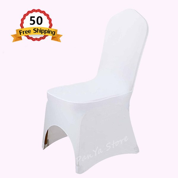 50PC White Polyester Elastic Lycra Stretch Banquet Chair Cover of Wedding Party Event Office Hotel Dining Room chair Decoration