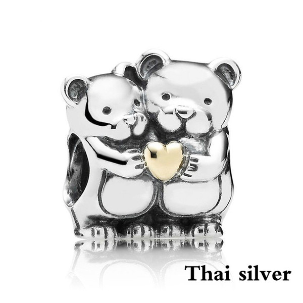2019 NEW Thai Silver Vintage Teddy Bears Silver Charm With 14k Heart Original Limited Edition Jewelry Factory Wholesale 791395