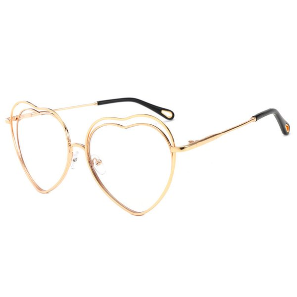 Hollow Trend Sunglasses Flat Light Foreign Trade European and American Personality Love Metal Frame Sunglasses