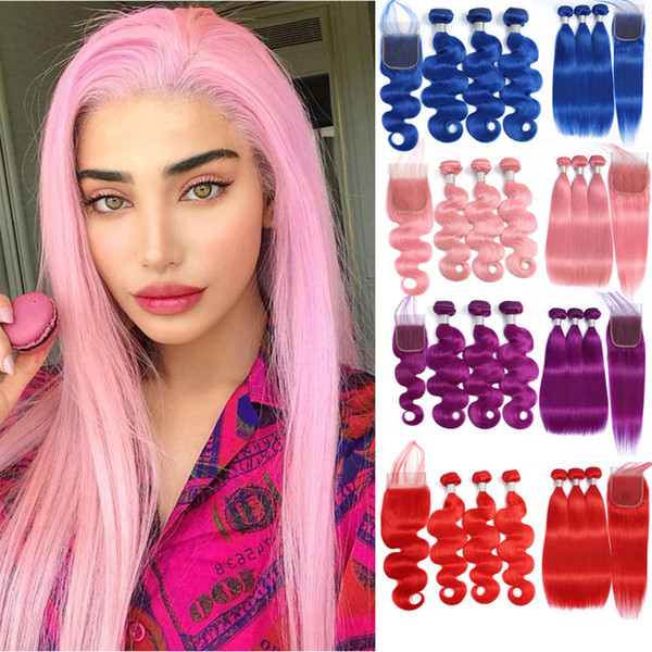 Pure Color Blue Red Pink Purple Red Brazilian Body Wave /Straight Hair 3 Bundles With 4*4 Lace Closure 100% Remy Human Hair Extensions
