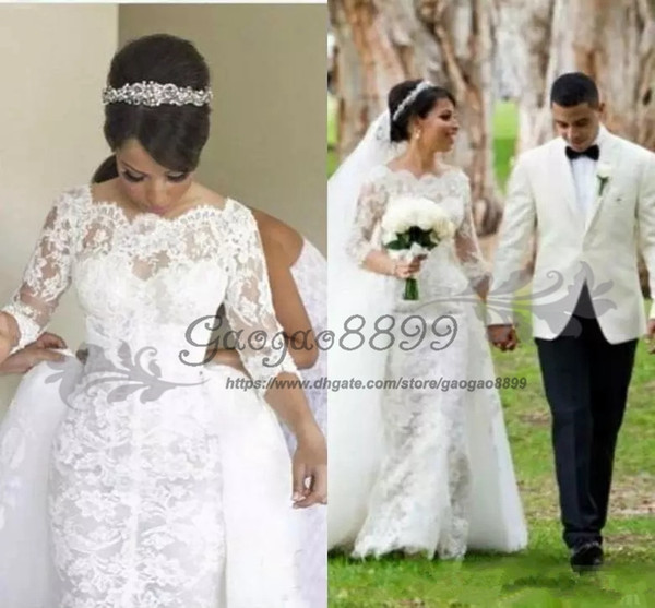 vintage Nigerian lace Mermaid Wedding Dresses with detachable train chic Half long Sleeve overskirt arabic Plus Size Country Bridal Gown