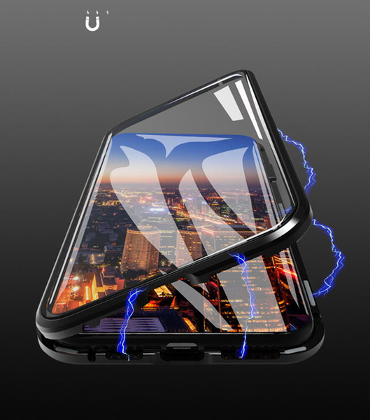 NEW iPhone X XR XS MAX Magnetic Case 360 Front+Back double-sided Tempered Glass Case for iPhone 6 6S 7 8 plus Metal Bumper