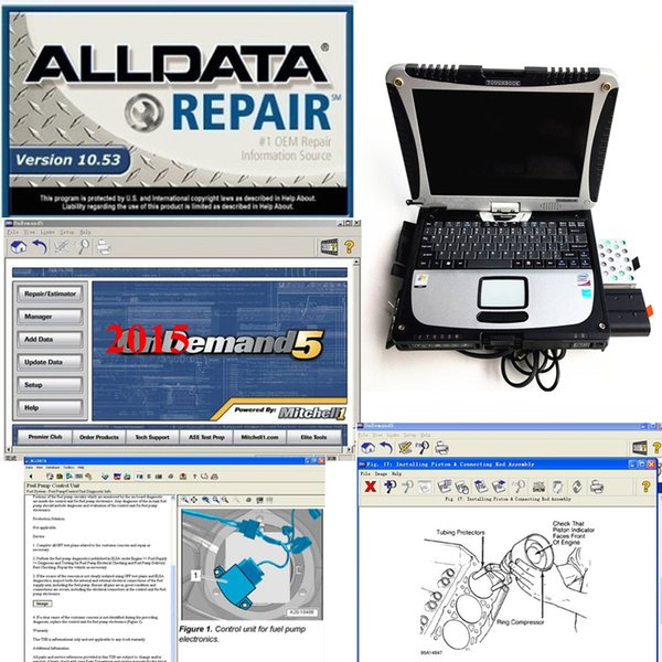 2019 alldata V10.53 repair software and mitchell 2015 software 1TB installed Well in laptop for cf19 With 4GB ready to work
