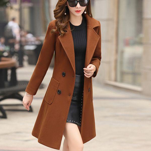 Oberbekleidung Overcoat Herbst Jacke beiläufige Frauen neue Art und Weise Lange Wollmantel Einreiher schmal weibliche Winter Wollmäntel V191031