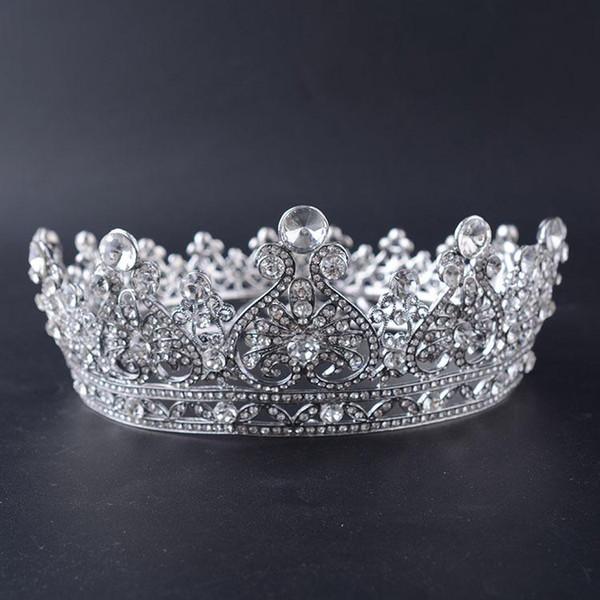 Bride Crown Alloy Diamond Round Crown European and American High Quality Headdress Wedding Dress Accessories