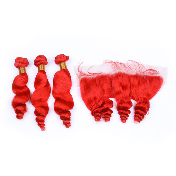 Red Colored Loose Wave Malaysian Hair Weaves with Frontal Bright Red Loose Wavy Human Hair 3Pcs Bundles with Lace Frontal Closure 13x4