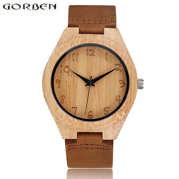 Reloj de madera Reloj de madera de bambú masculino para hombres Mujeres Grabado Escala Cuarzo Hombre de lujo Reloj de madera 2018 Relogio De Madeira