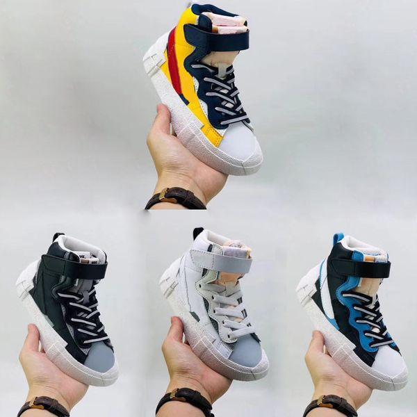 Enfants chaussure Kids Nike Sacai x Blazer Mid loup gris Varsity maïs blanc langue gerbés Blazer noir avec la fille enfants garçon sneaker casual dunk