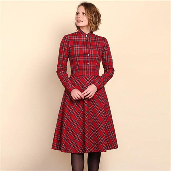 Fall Fashion 2018 Women Long Sleeve Vintage Elegant Plaid Shirt Dress Autumn Ladies Casual Midi Party Christmas Dresses