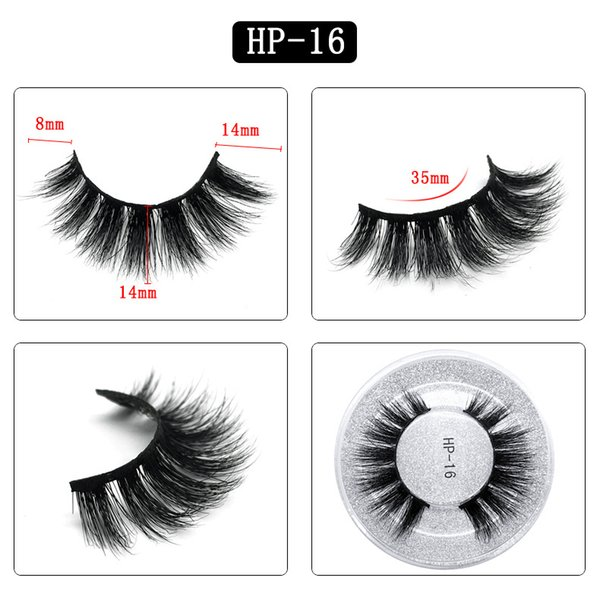 3D mink hair false eyelashes HP16 single pair round box packaging eyelashes Europe and the United States thick natural factory direct sales
