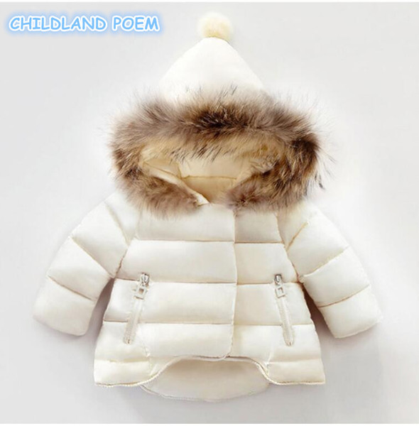 Winter Baby Girl Coat Thick Warm Cotton Real Fur Newborn Baby Boys Girls Jacket Infant Toddler Hooded Outerwear Clothing 1-4Y