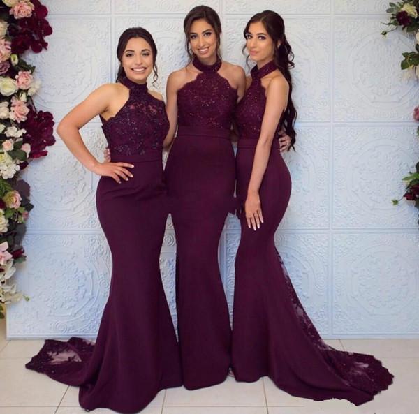 Grape Bridesmaid Dresses Lace Appliques Illusion Halter Chiffon Mermaid Zipper Back Floor Length Formal Wedding Party Prom Dress Evening