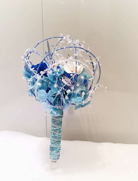 2019 new custom charm Ji Bao blue wedding personality bouquet crystal eternal rose bridal bouquet