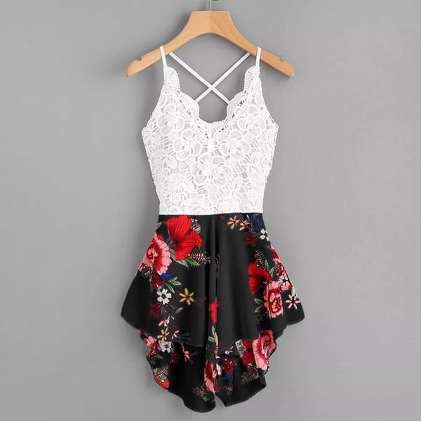Macacões das mulheres Feitong Crochet Lace Painel Bow Tie Voltar Florais Senhoras Verão Shorts Macacão Bodysuits Roupas Femininas