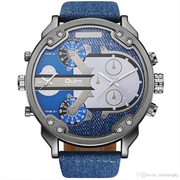 Pelle OULM HP3548 orologi militari uomini di quarzo analogico vigilanze della fascia Orologio uomo di sport Dual Time Zones Relogios Masculino