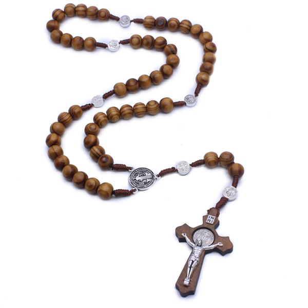 10 MM Hombres Mujeres Católico Cristo Rosario de Madera Cruz Collar de Madera Colgante Colgante de Cuerda Tejida Collar Joyería de Moda DHL M459A Gratis