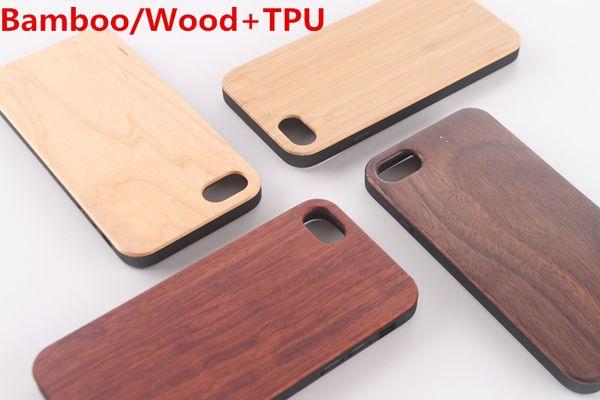 Estuche de bambú / madera real + TPU para iPhone X XS Max XR 6 7 8 Cubierta dura que talla bambú de madera Samsung Smartphone Protector de Shell
