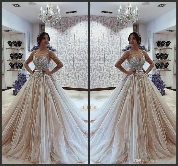 Cheap Ball Gown Long Sleeve Muslim Wedding Dresses Sheer Sleeves African Beidal Gowns Princess Country Wedding Dress 2019
