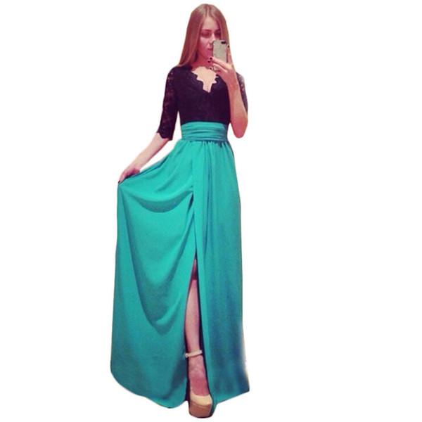 Sommerkleid Plus Size Kleidung Maxikleid Lange Neue 2015 Sommer Stil Side Split Kleider Gespleißt Verband Vestidos Kleider C170