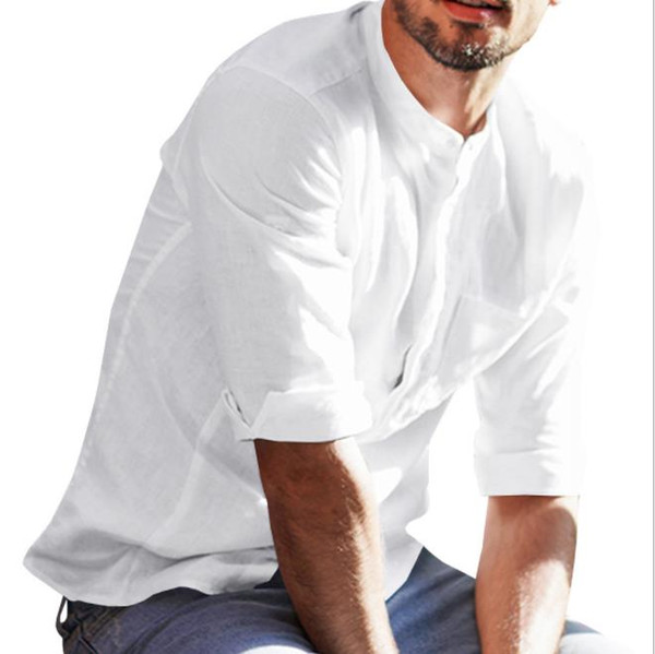 Мужская Весна Новые Рубашки Твердые Льняные Тонкие Дышащие Повседневная Мода Нежные Повседневные Рубашки Одежда