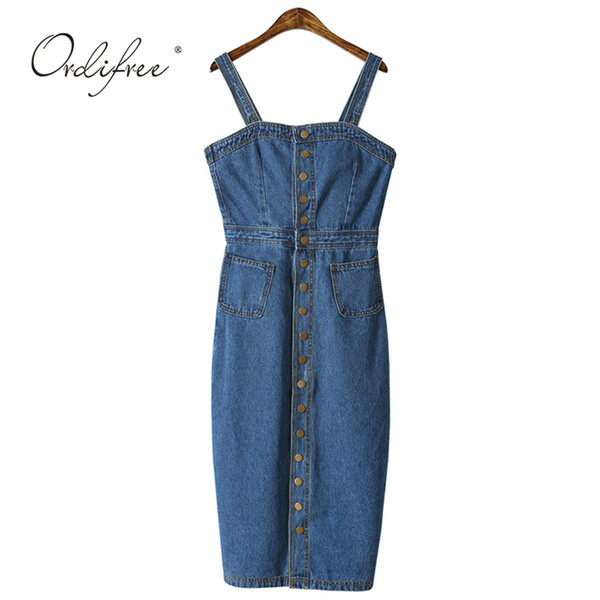 Ordifree 2019 Summer Autumn Women Denim Dress Sundress Sarafan Overalls Dress Vintage Blue Sexy Bodycon Female Jeans Dress Y19041001