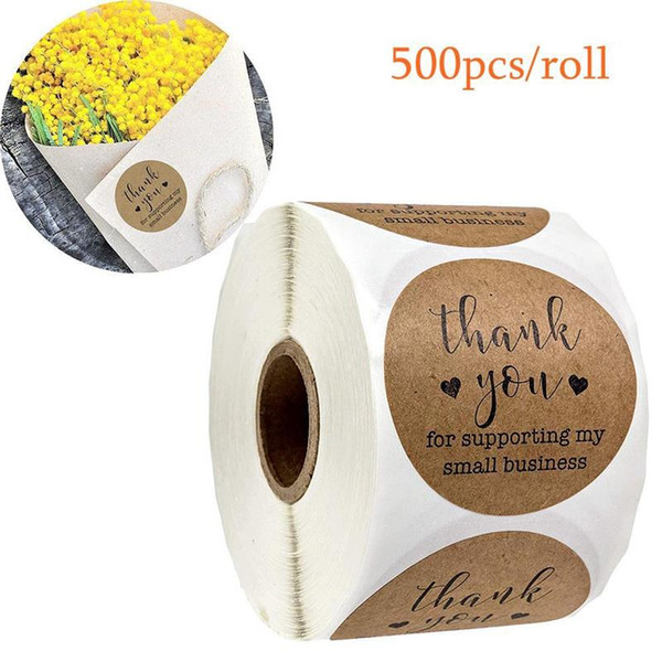 top popular Kraft Paper Tags Thank You for Supporting My Small Business Stickers Seal Labels DIY Christmas Gift Decoration Stickers 500pcs 2021