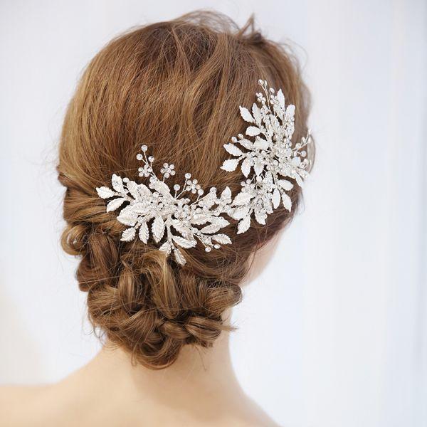 Più nuovo arrivo argento lusso fasce di cristallo strass foglie hairband da sposa testa pezzo monili dei capelli delle donne partito hot