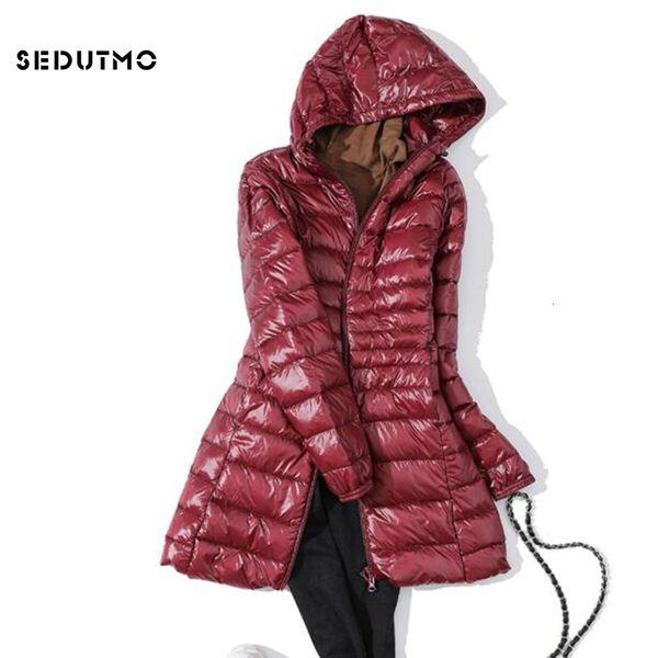 SEDUTMO Piumini invernali lunghi ultraleggeri da donna Plus Size 7XL Piumino in piumino d'oca Piumini slim con cappuccio ED621 T190905