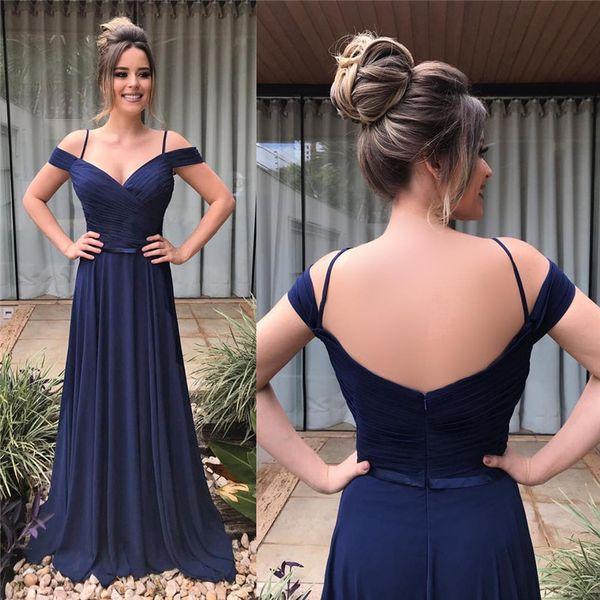 Dark Navy Bridesmaids Dresses For Western Summer Garden Weddings A Line Off Shoulders Spaghetti Flowy Chiffon Long Maid of Honor Gown BM0623